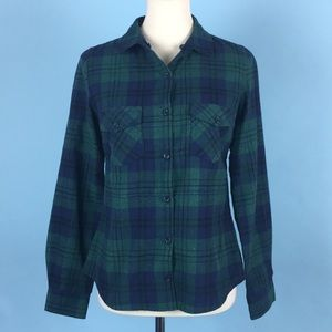 Love Tree Blue & Green Button-Up Flannel